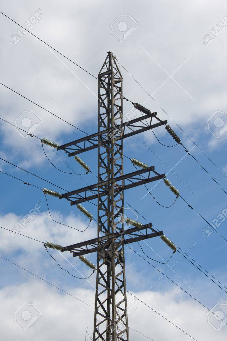 Power Transmission Tower Carrying Electricity From Different.. Stock ...