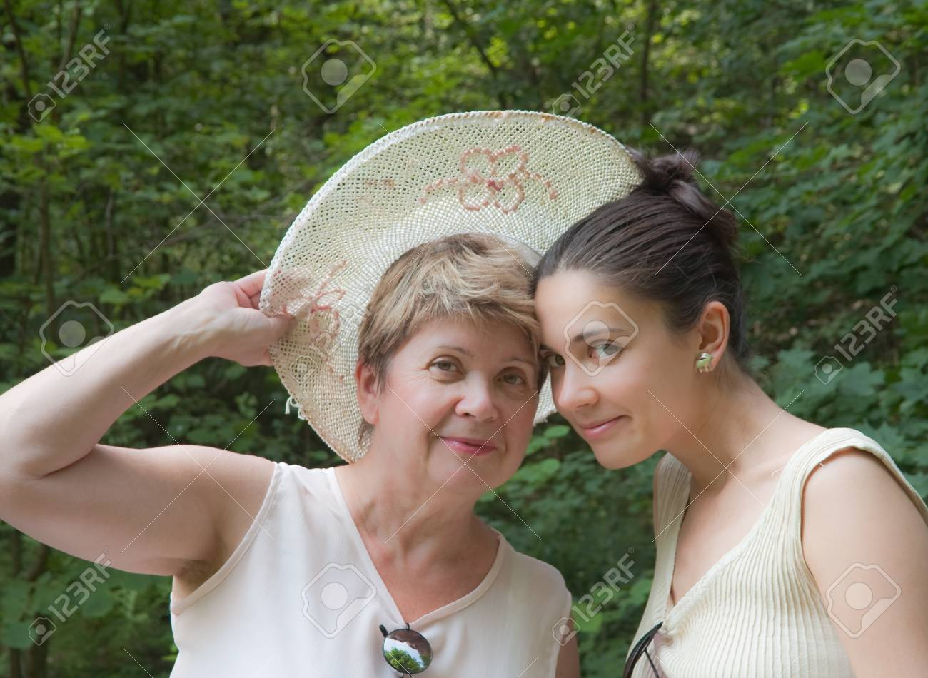 Mother and daughter in a forest Stock Photo - 12449710