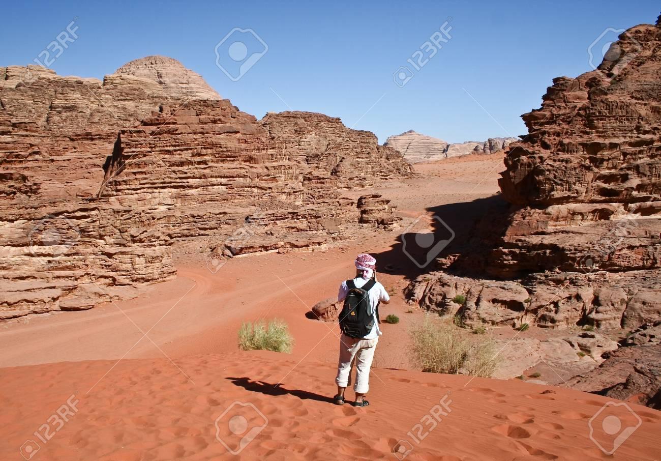 Tourists in desert Wadi Rum  Jordan Stock Photo - 12412329