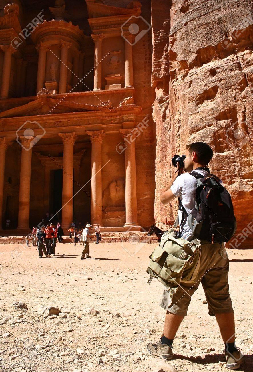 Tourist and Nabatean temple Petra, Jordan Stock Photo - 12412359