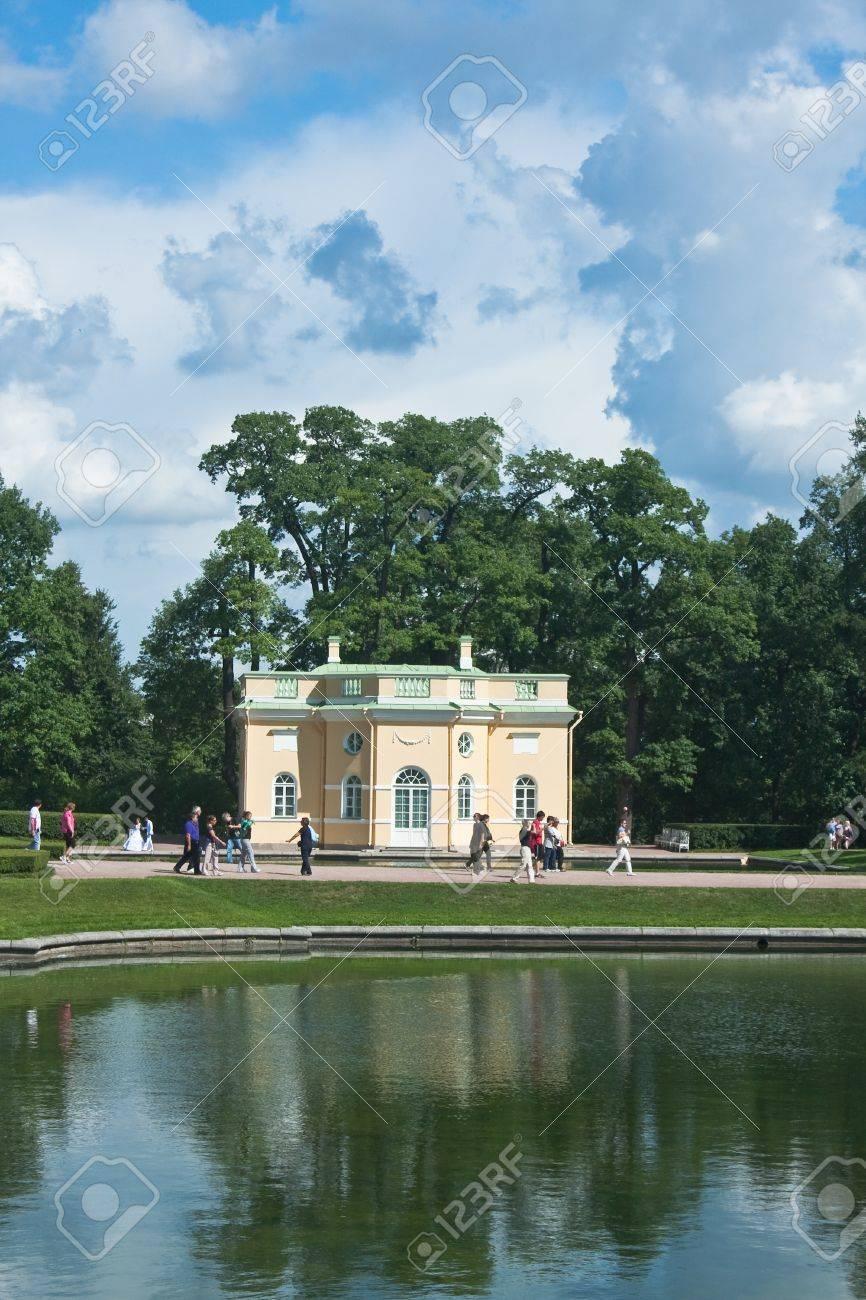 Building of pavilion by pond in Catherine Park, Tsarskoye Selo, Russia Stock Photo - 12927903