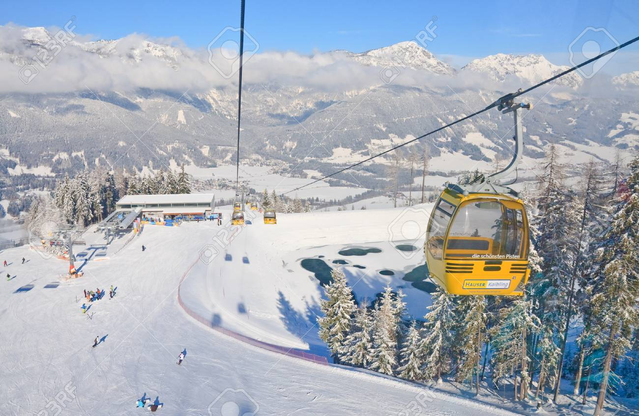 cabin ski lift. ski resort schladming . austria stock photo, picture