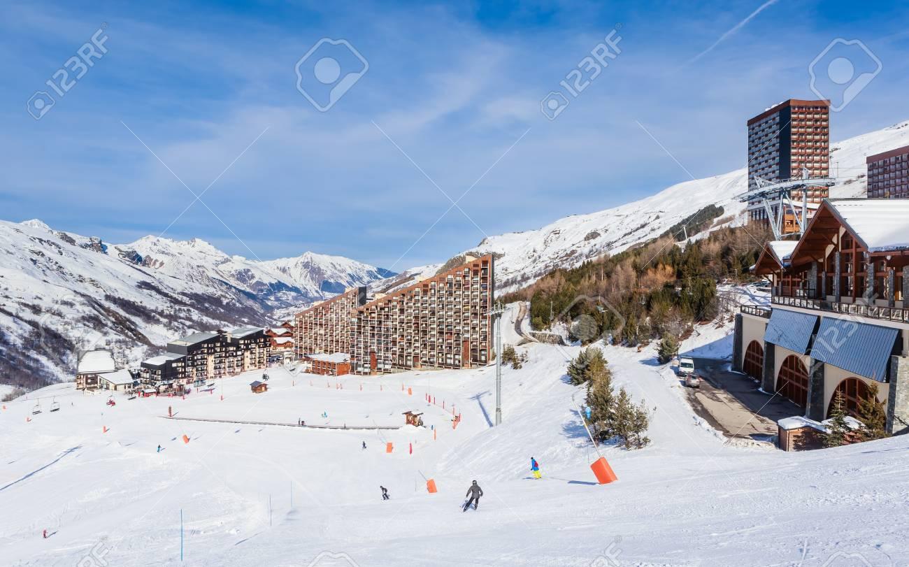 ski resort val thorens. village of les menuires. france stock photo