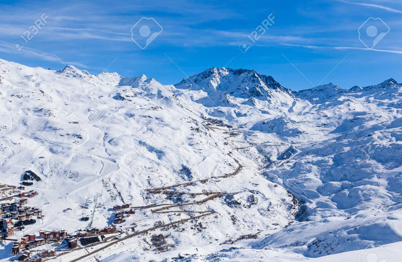 ski resort val thorens. villages of les menuires and val thorens
