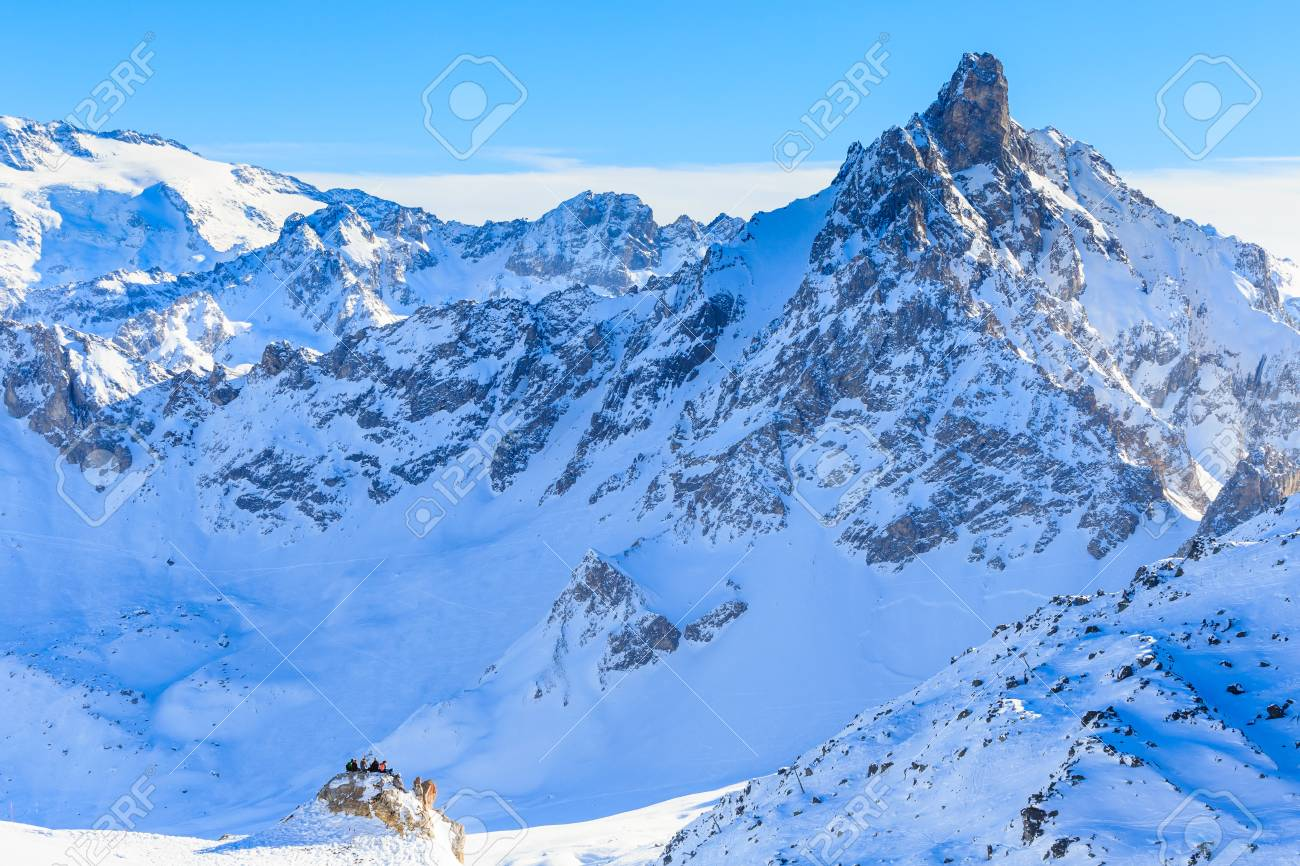 Skiers On The Slopes Of The Ski Resort Of Courchevel France Stock