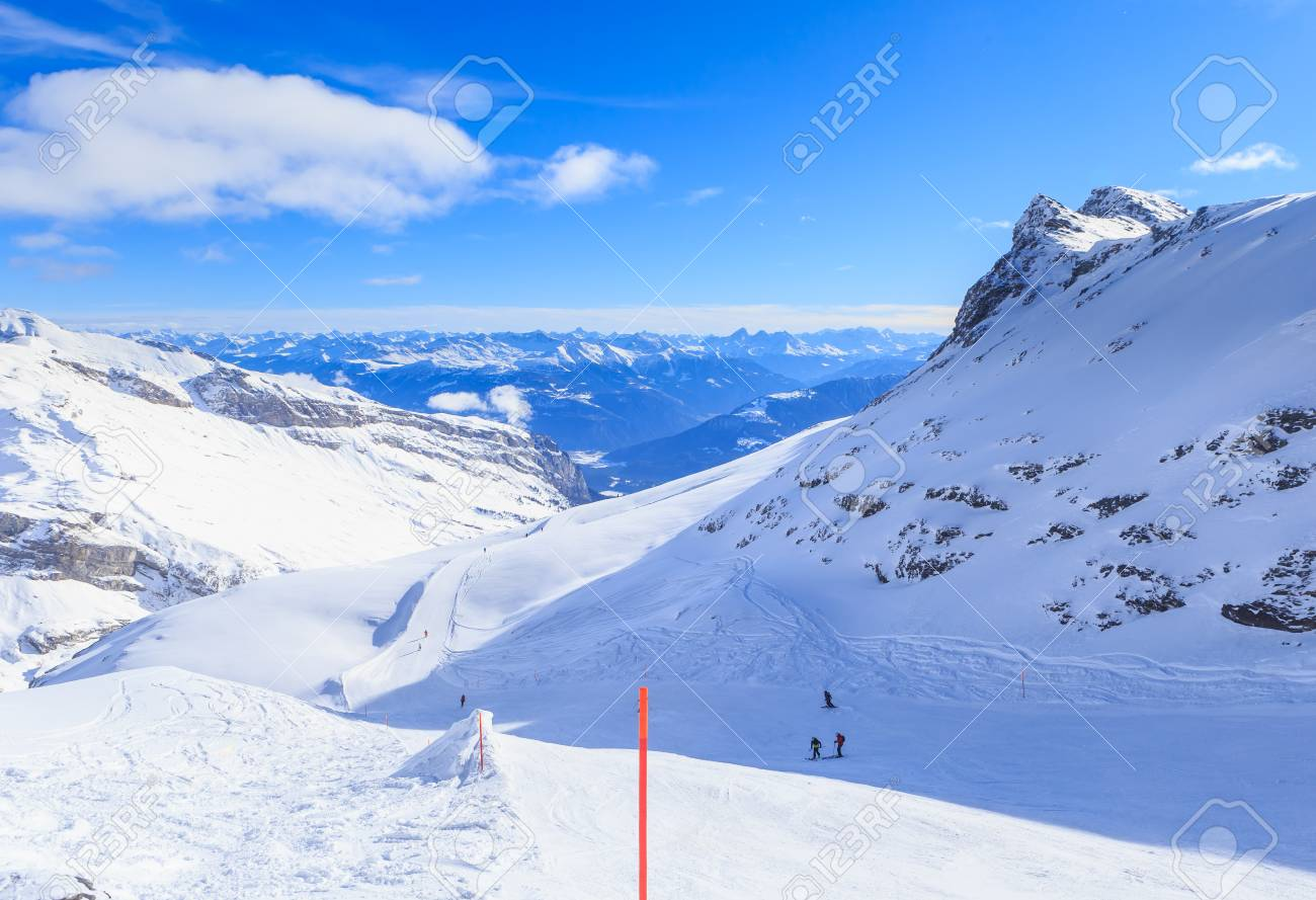 mountains with snow in winter. ski resort laax. switzerland stock