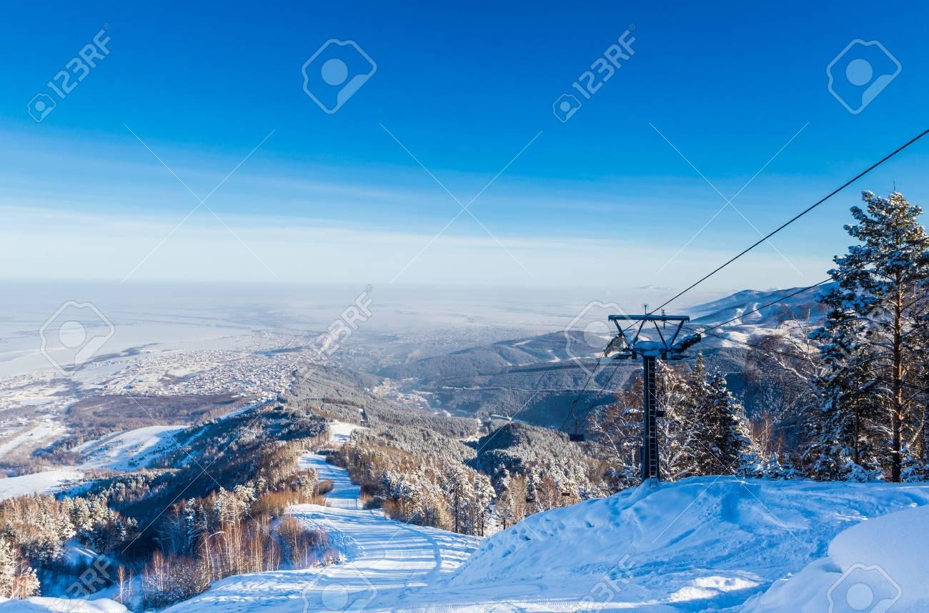 The ski slope on Tserkovka mountain in the city the resort of