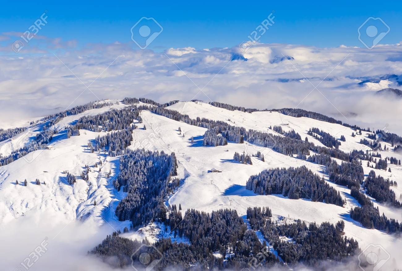 mountains with snow in winter. ski resort soll, tyrol, austria stock