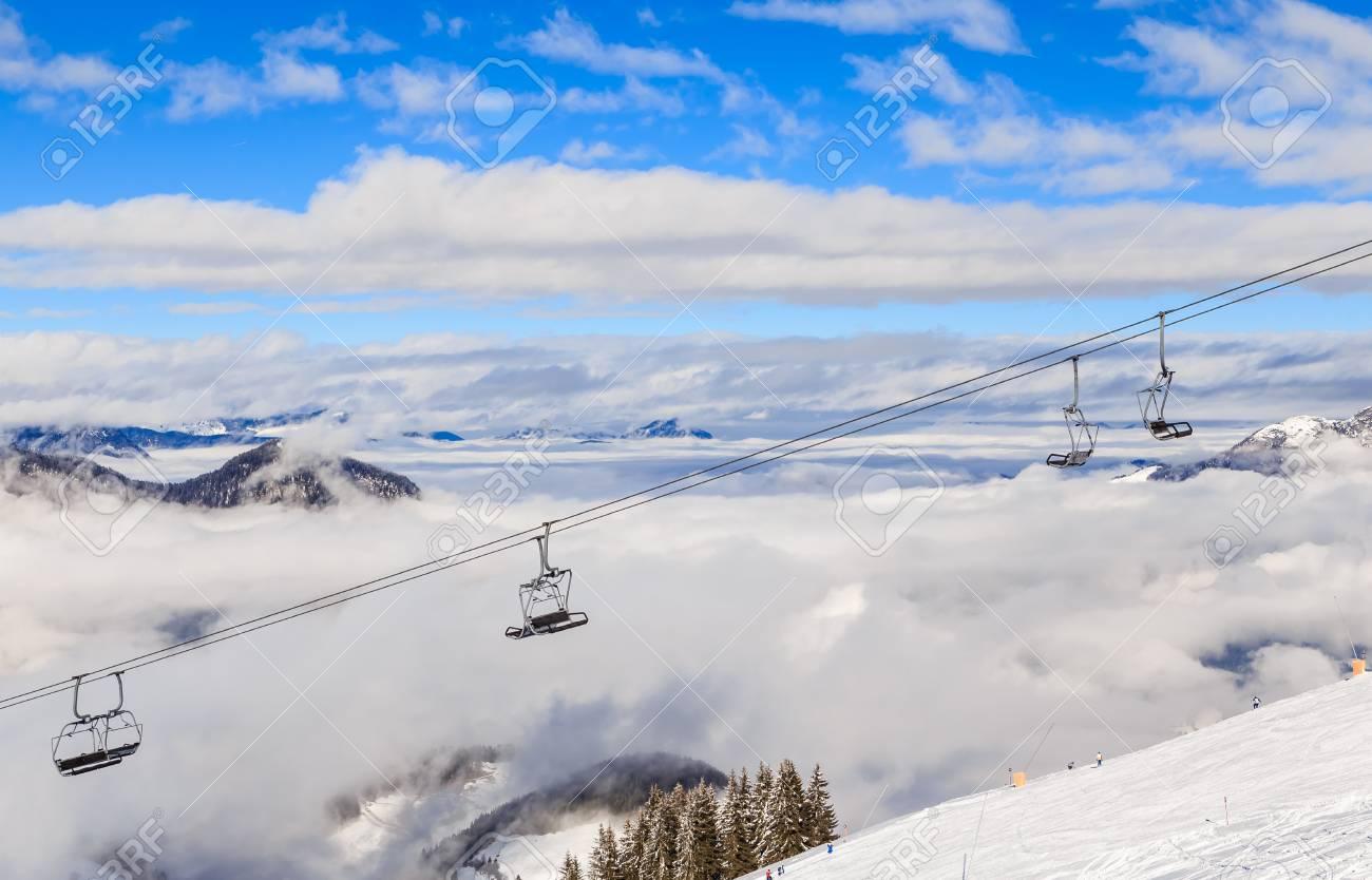ski lift. ski resort soll, tyrol, austria stock photo, picture and