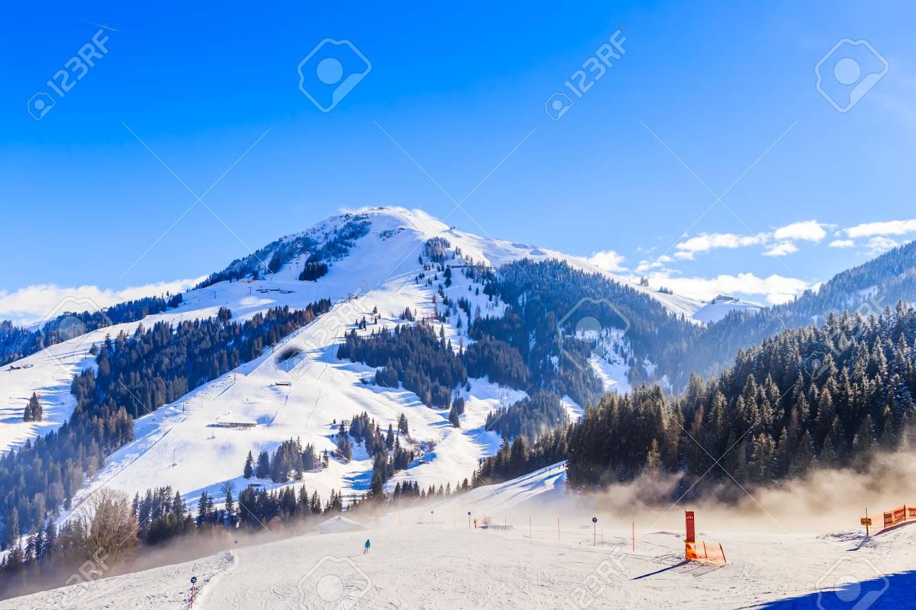 on the slopes of the ski resort soll, tyrol, austria stock photo