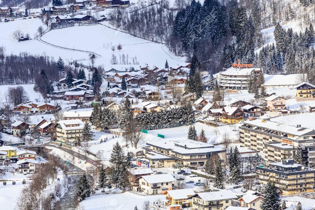 view of the austrian spa and ski resort bad gasteinl, austria stock