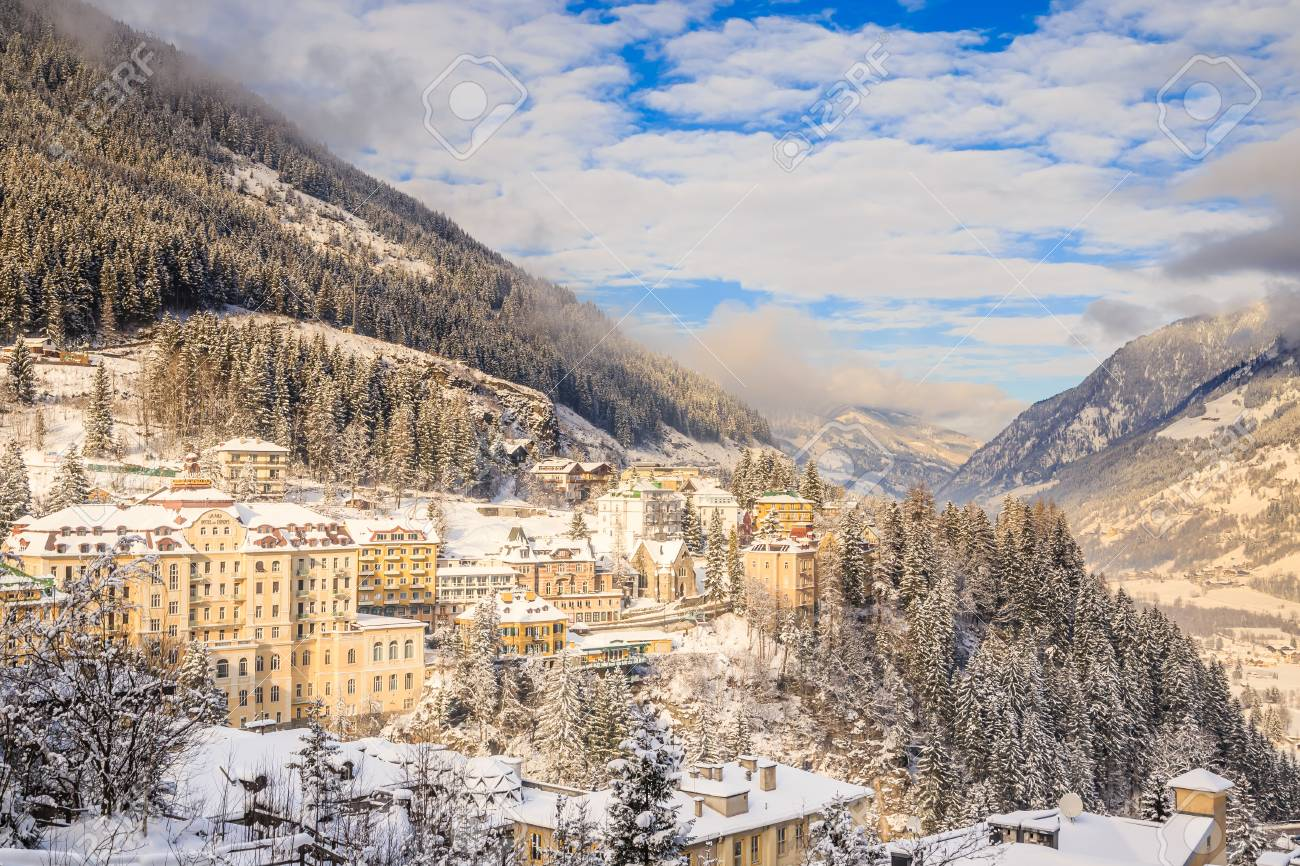 view of hotels in the austrian spa and ski resort bad gasteinl