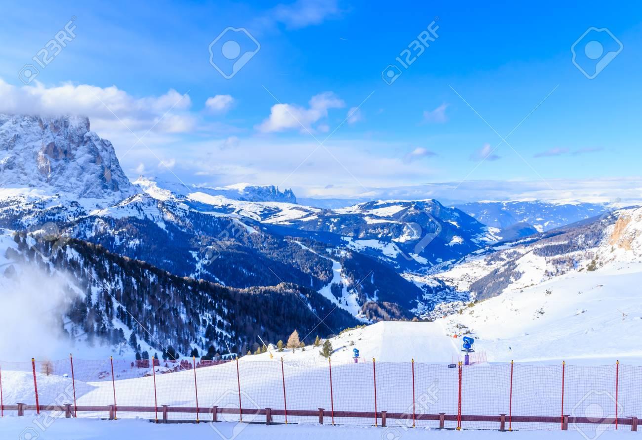 ski resort of selva di val gardena, italy stock photo, picture and