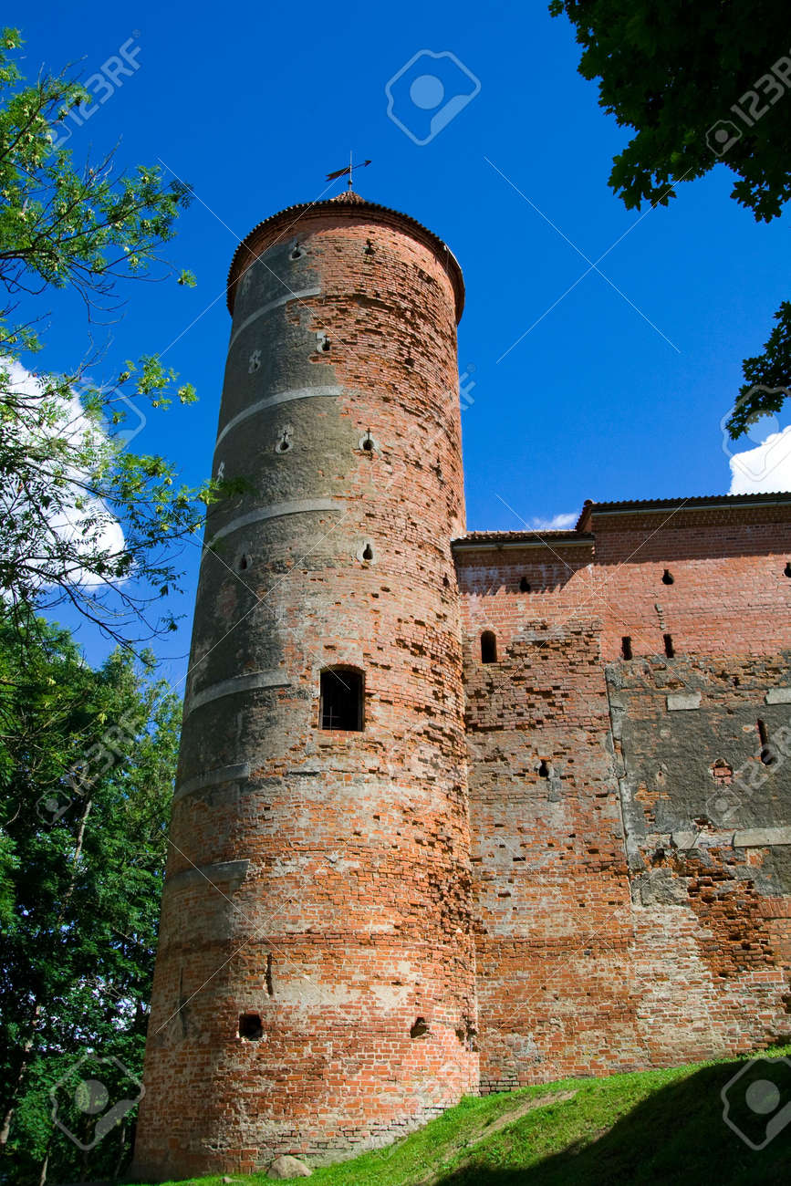 Tower of castle Panemune against blue sky Stock Photo - 3379484