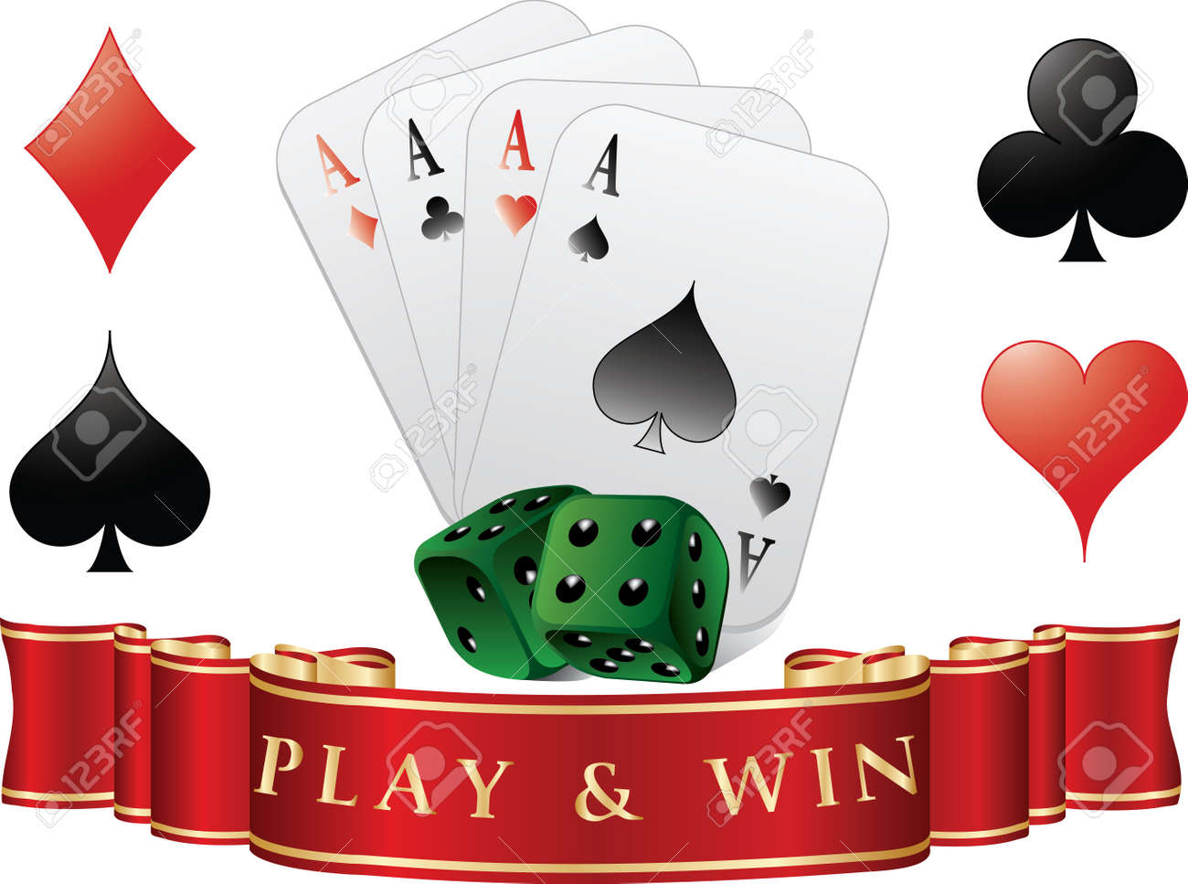 Playing cards with dices. Play and win. Vector illustration Stock Vector - 11674145