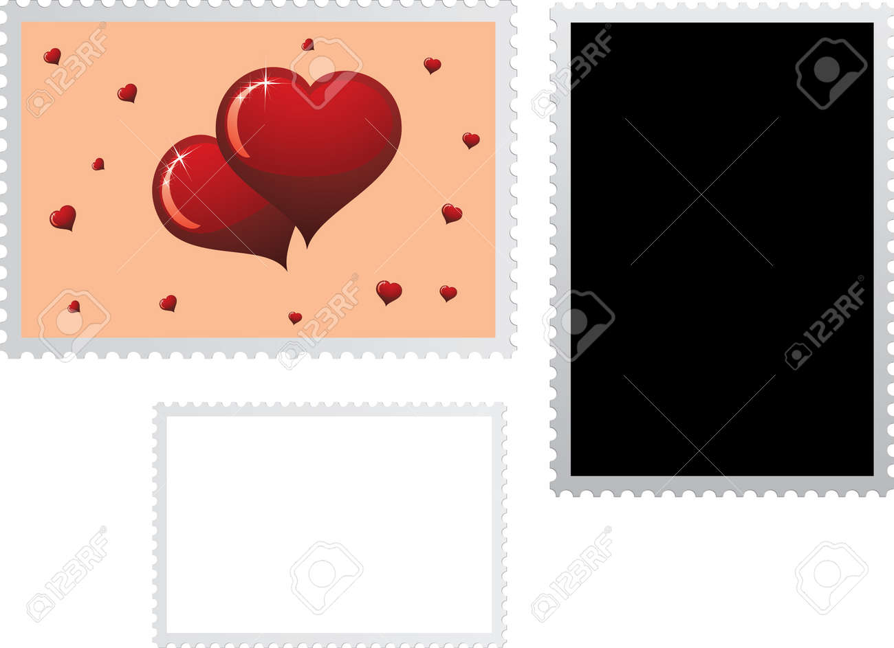 Postage stamp for Valentines Day holiday with two templates. You can creat your postage stamp. - 12048274