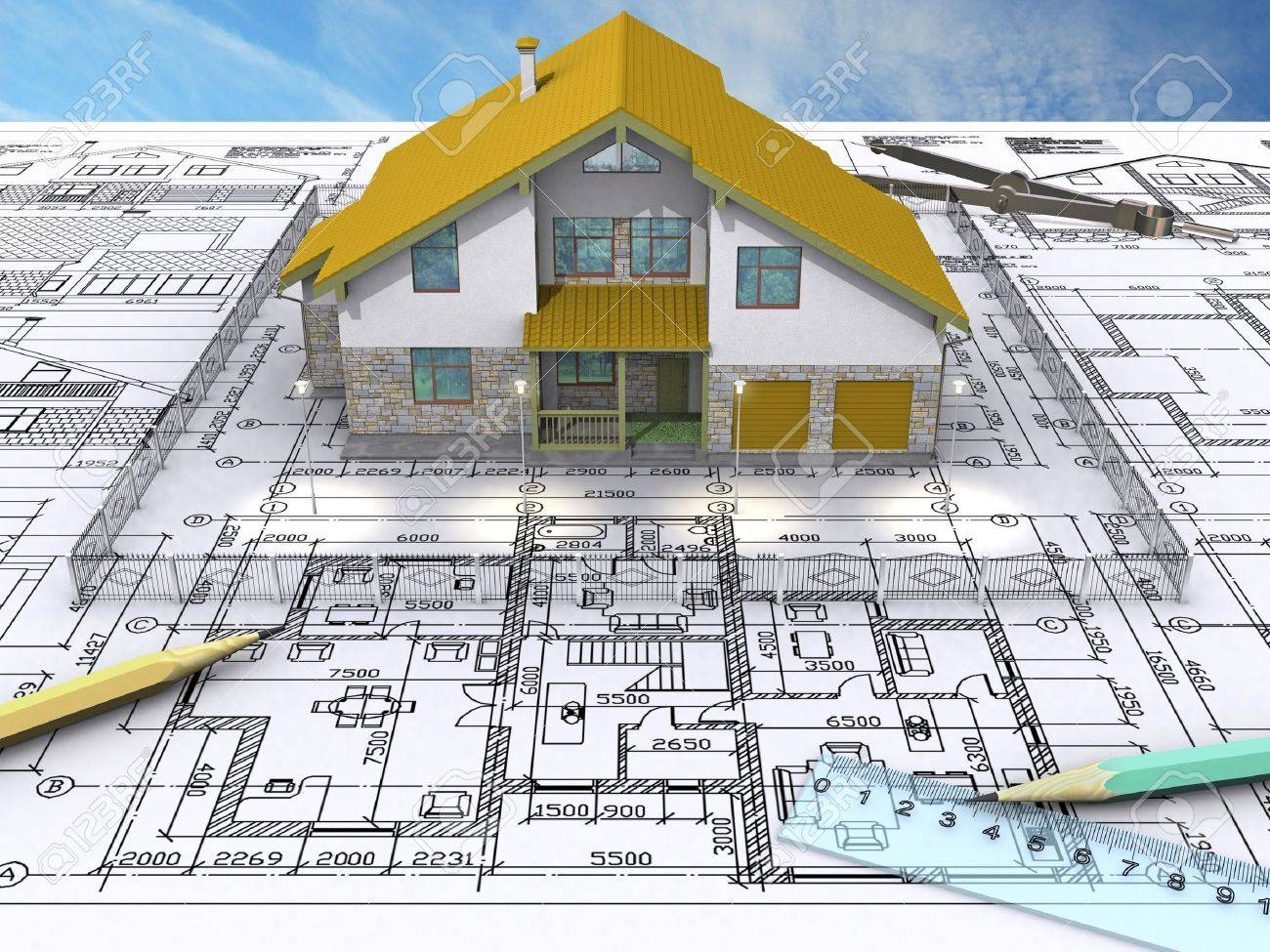 Residential house on architects drawing front view stock photo 2932935