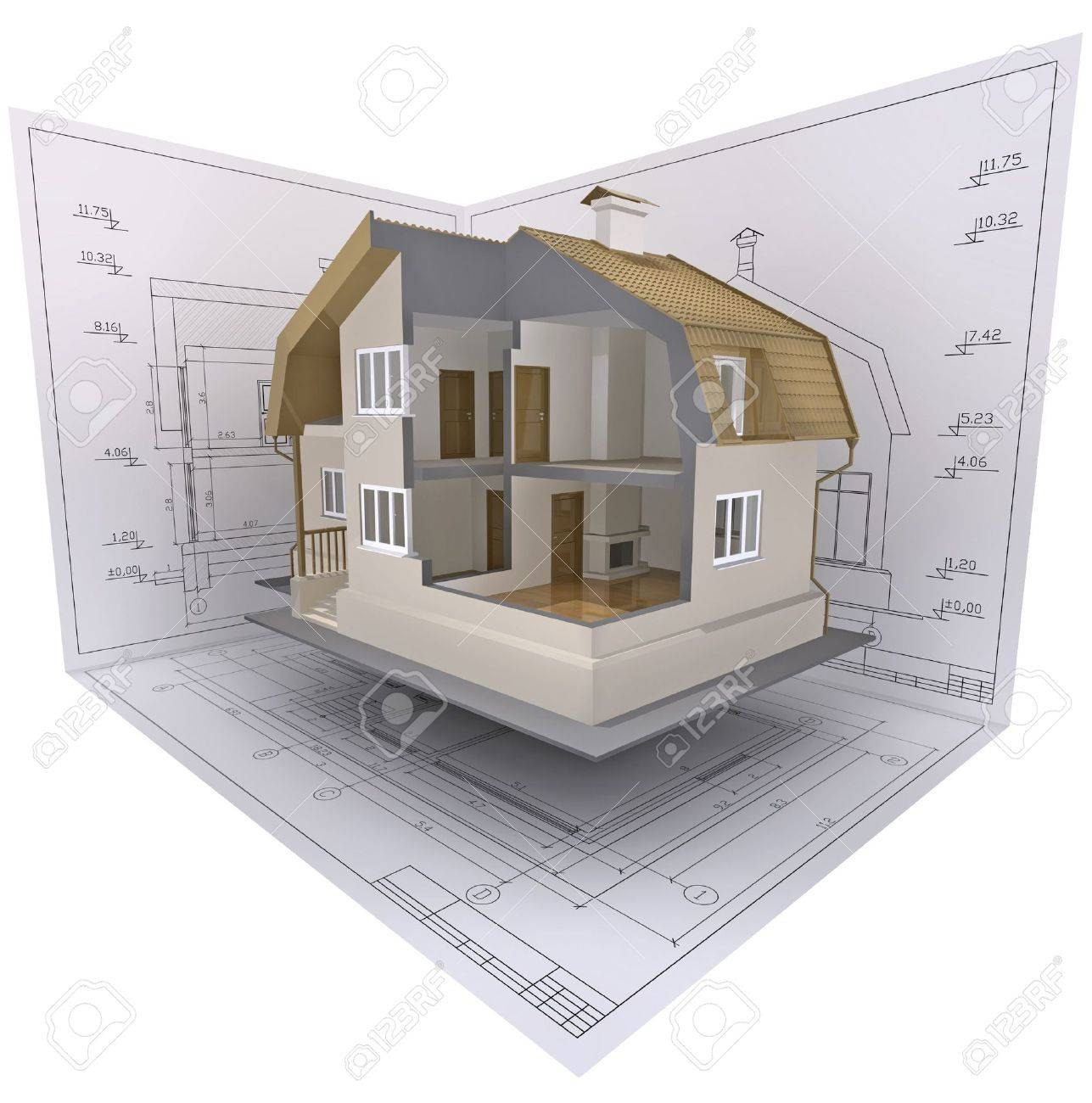 3D isometric view the cut residential house on architect�s drawing. Stock Photo - 6154990