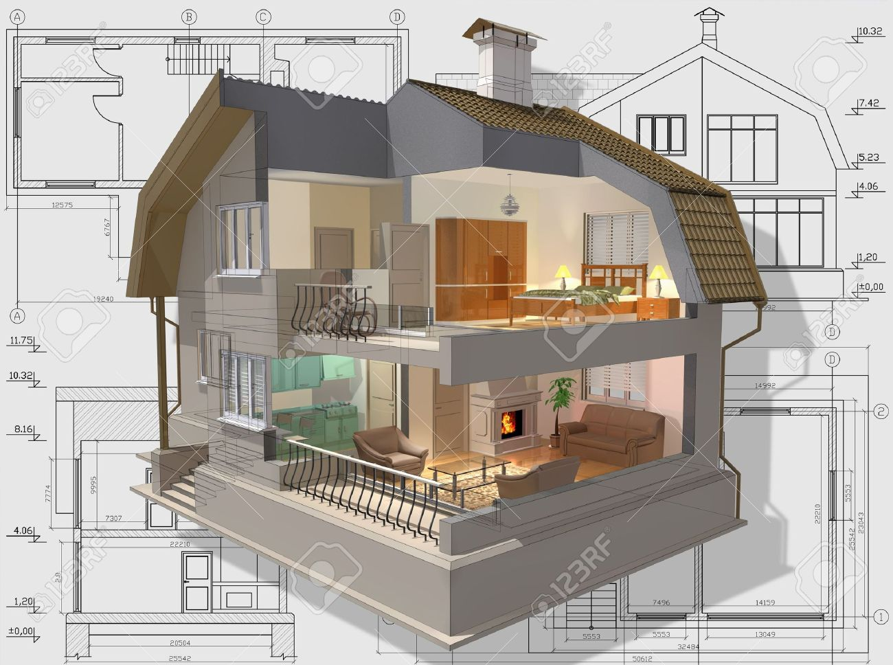 3d Isometric View The Cut Residential House On Architect S Drawing