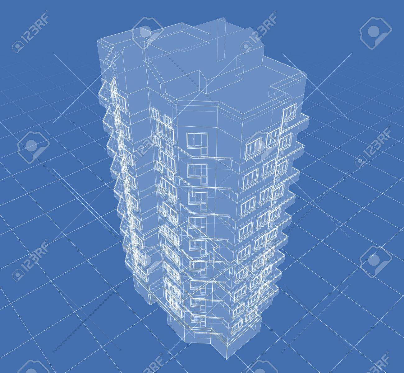 Abstract architectural 3D drawing of apartment house on blue. Stock Photo - 6421573