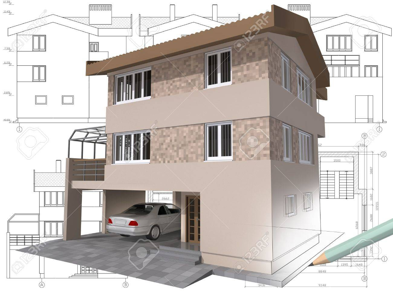 3D Isometric View he esidential House On rchitect Drawing ... - ^