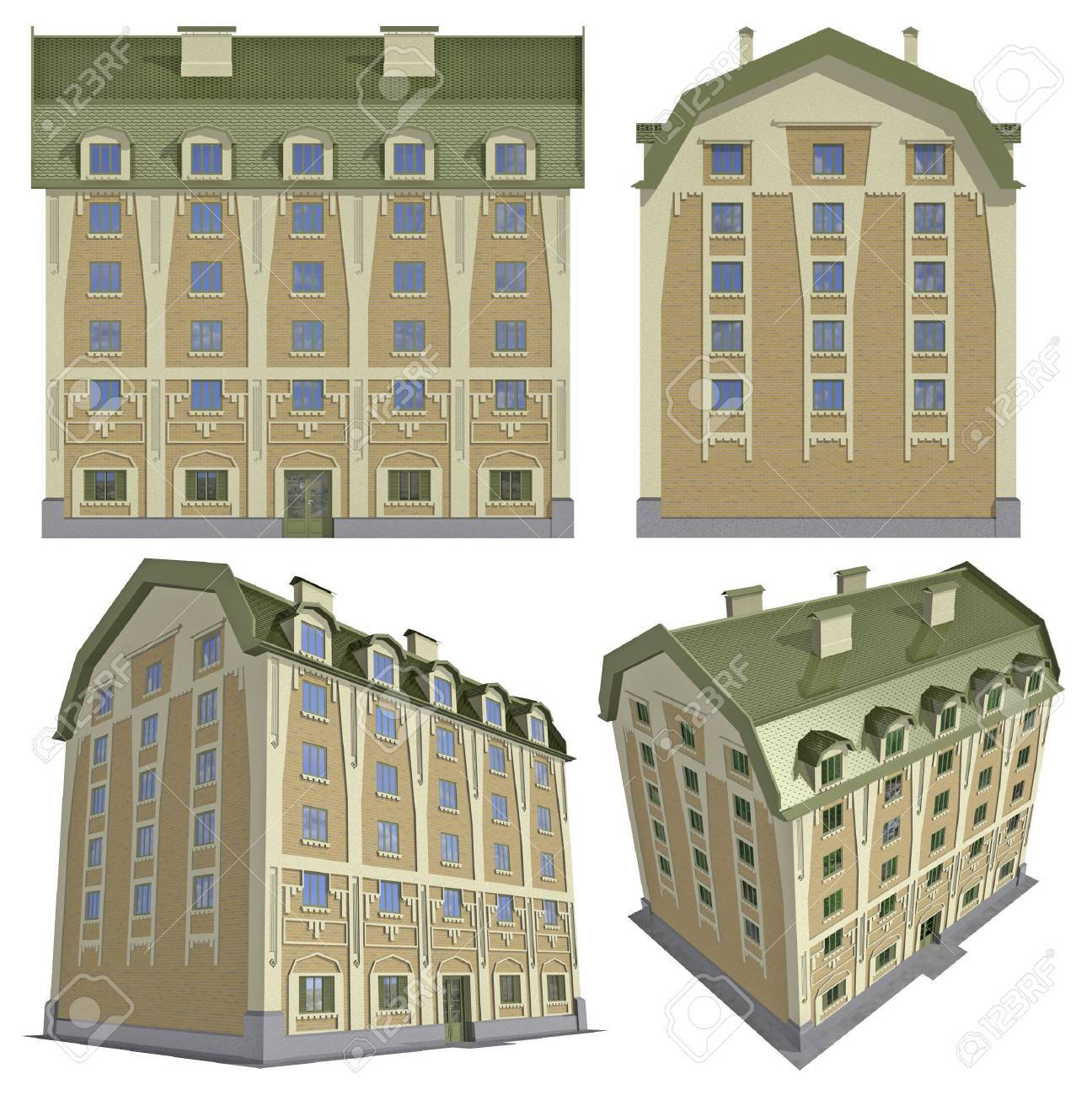 Four views of the 3D residential house over white Stock Photo - 7006603