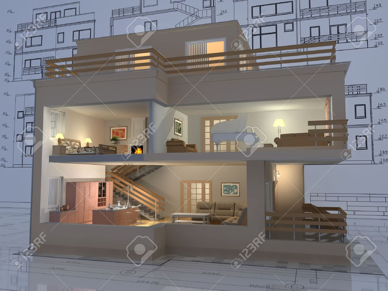 architectural drawing images stock pictures royalty free architectural drawing 3d isometric view of the cut residential house on architect drawing