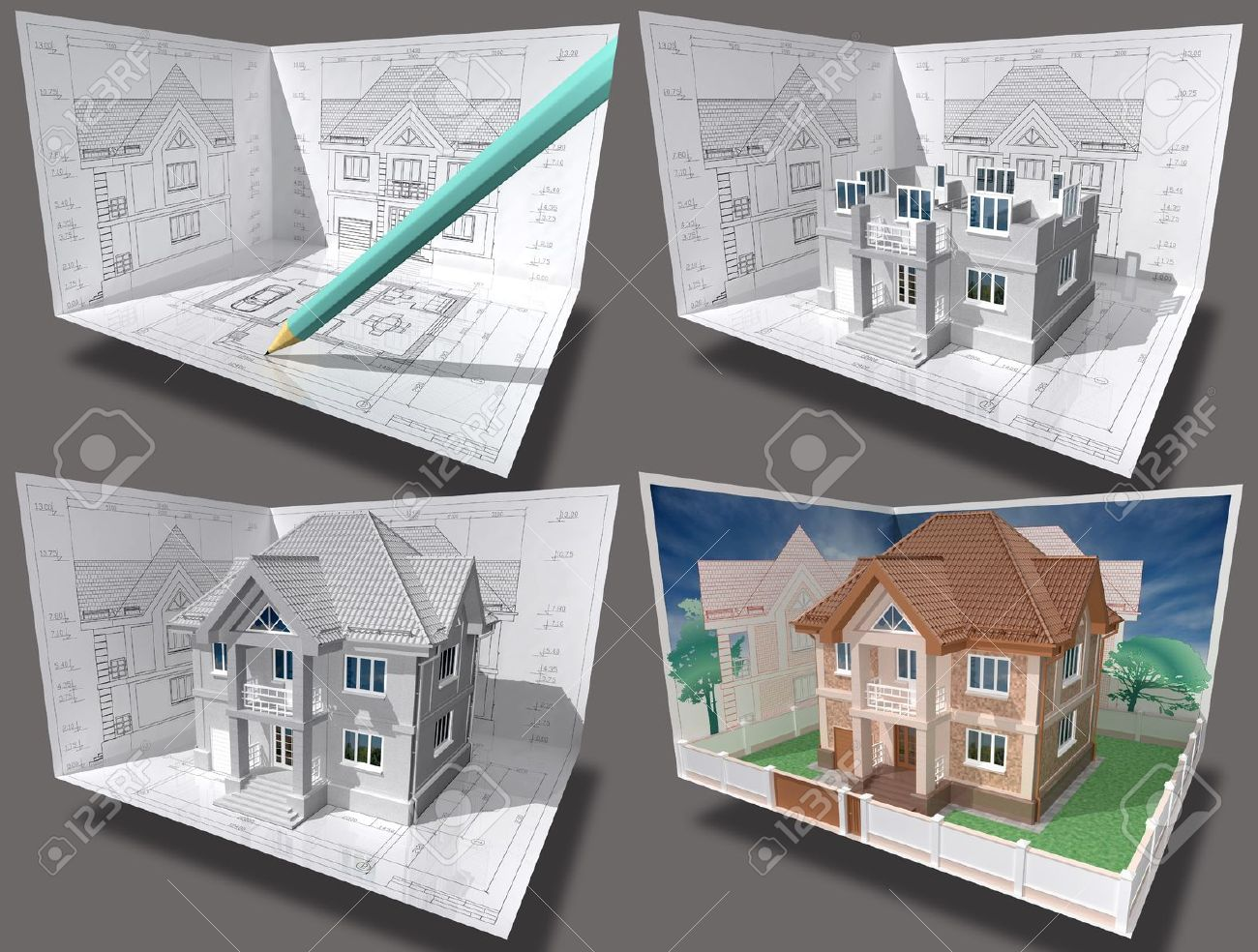 Balcony plans cottage under construction 3d isometric view of residential house on architect drawing