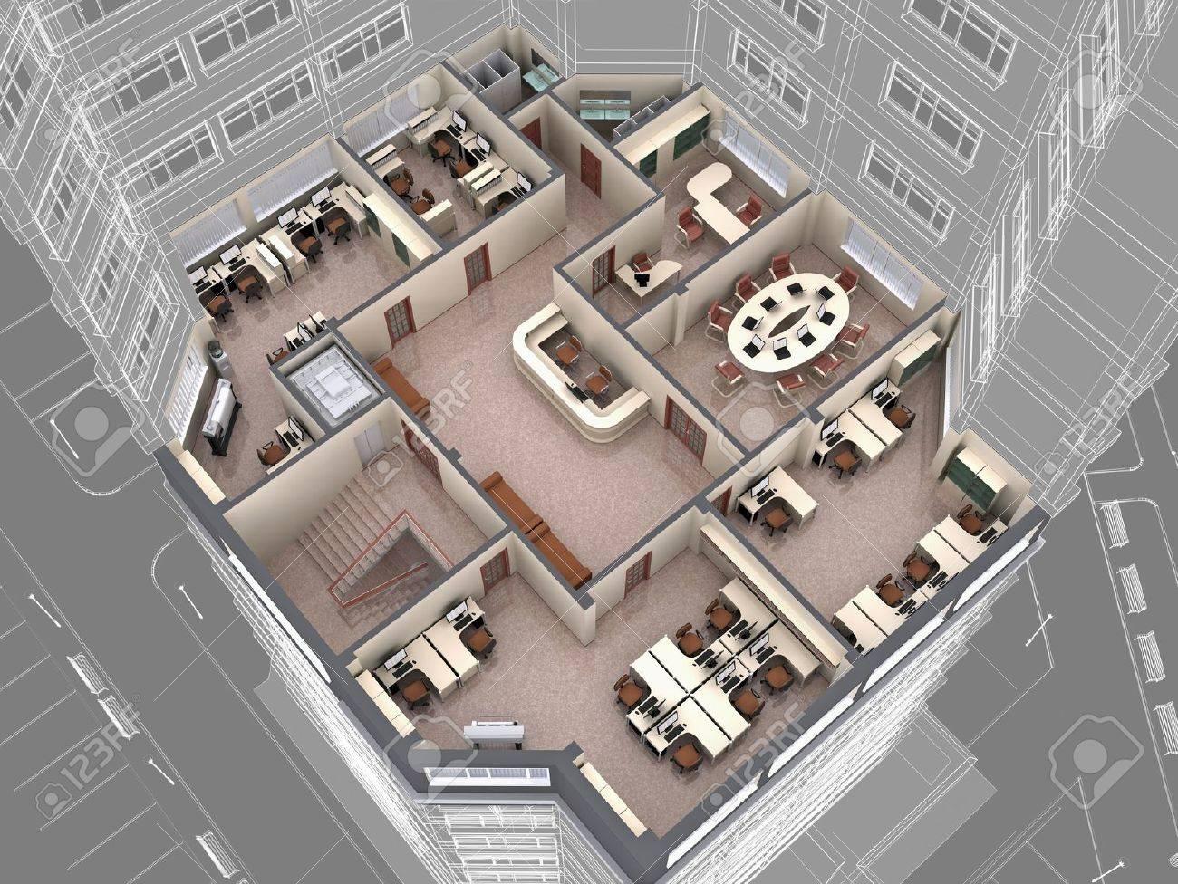 Intérieur de la baisse d immeubles de bureaux regard image d