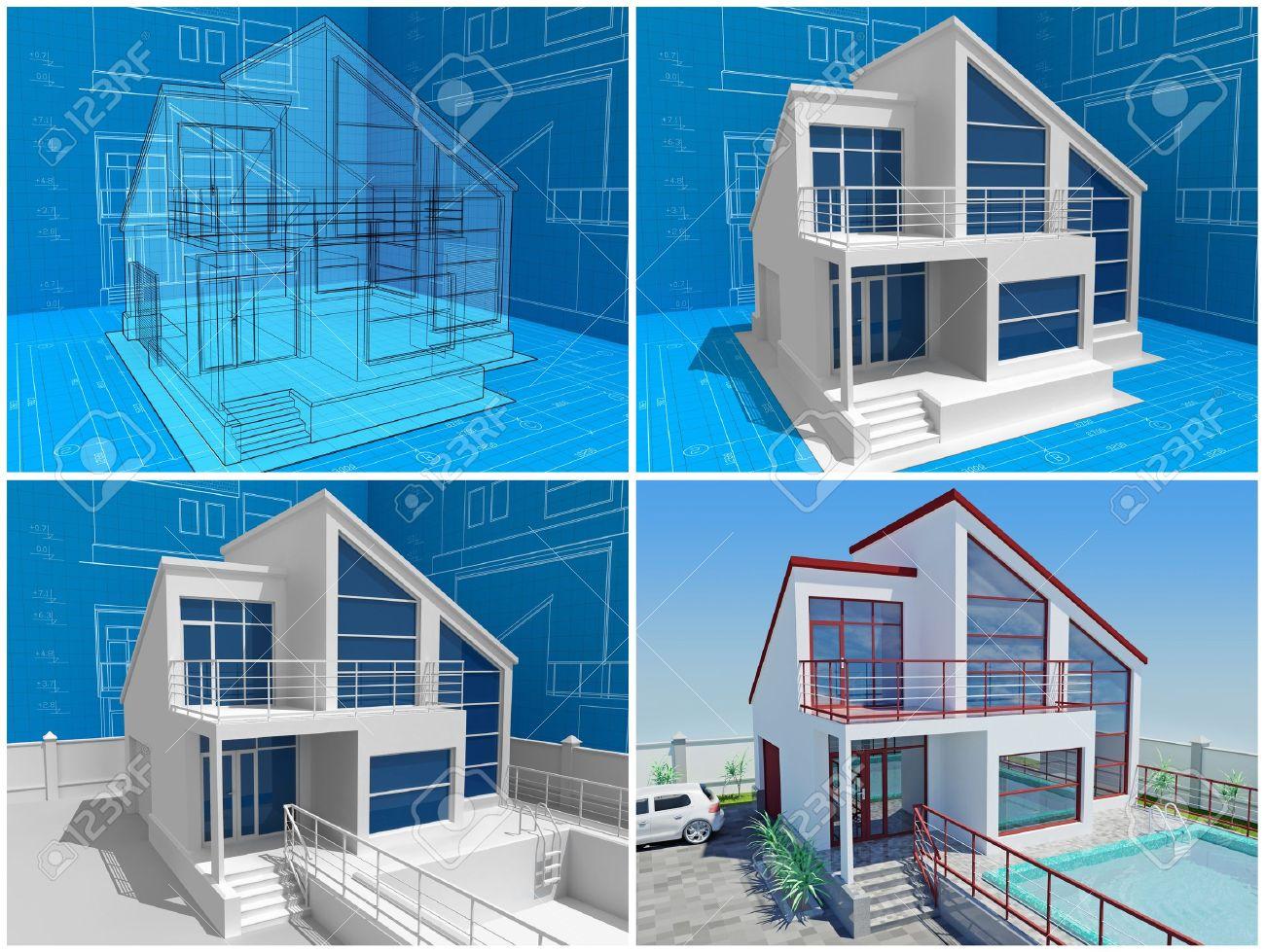 Das haus im bau isometrischen 3d ansicht des wohnhauses ã¼ber den architekten zeichnung bild