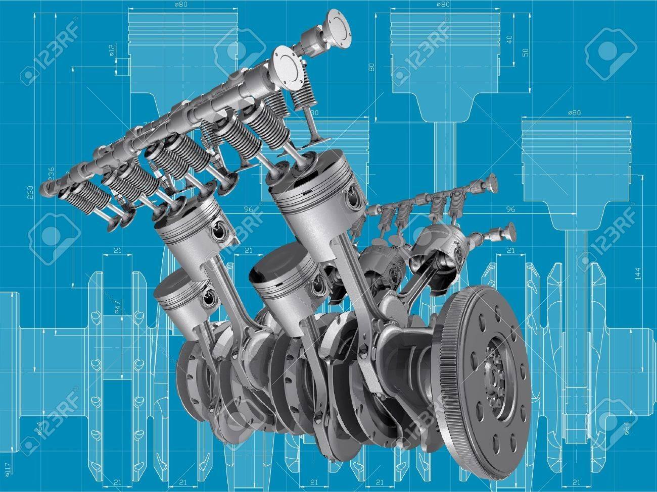 V8 Engine Pistons, Valves And Crankshaft On Blueprint. 3D Image ...