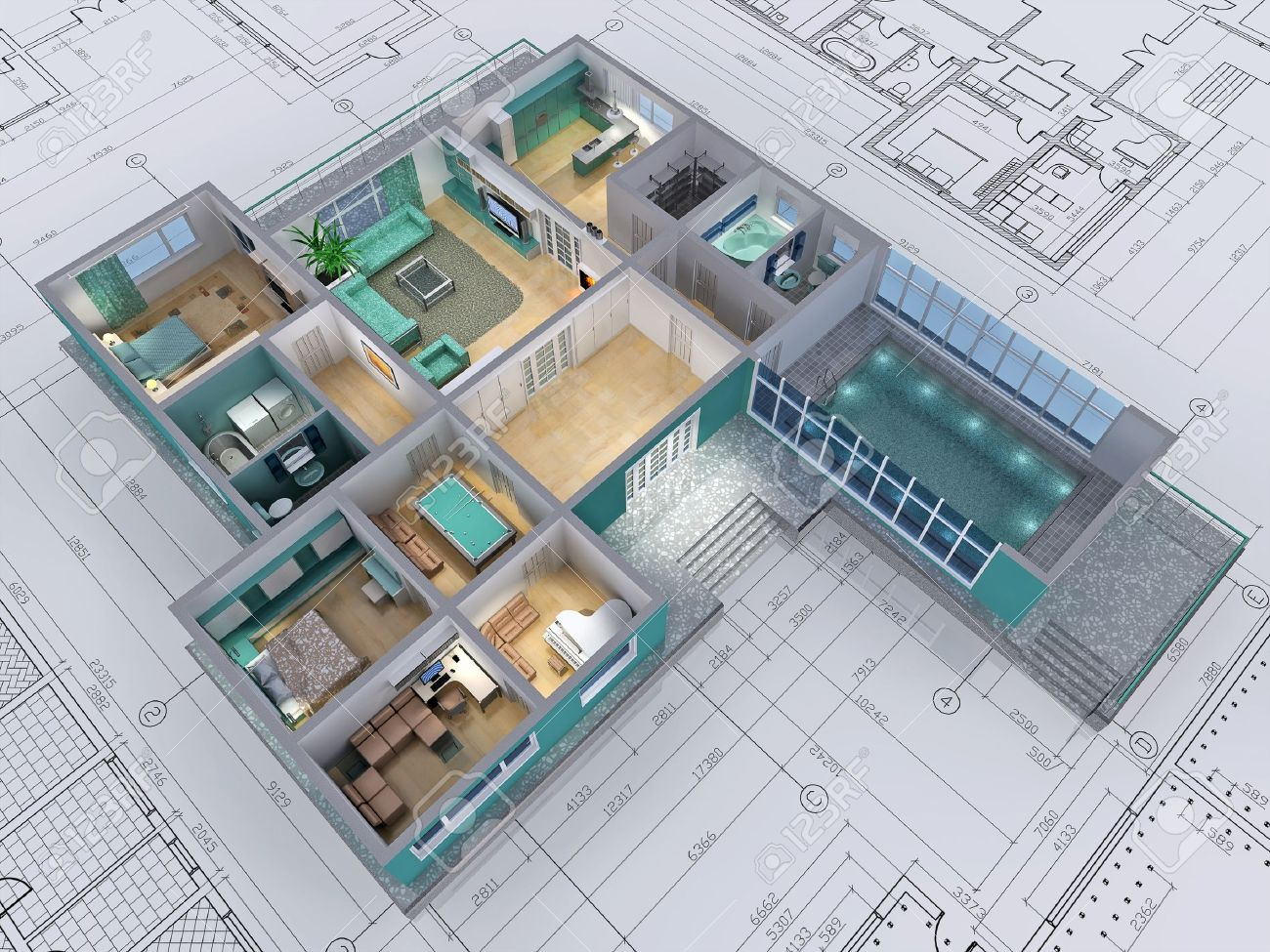 Cross Section Of Residential House 3d Image Stock Photo 14319259