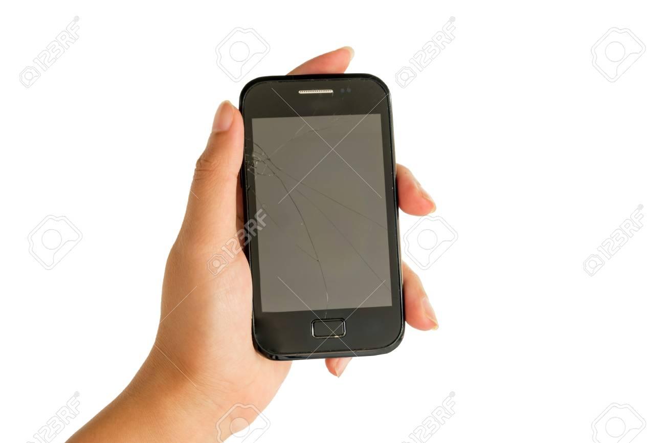 Immagini Stock Schermo Rotto Di Un Telefono Astuto Su Uno Sfondo