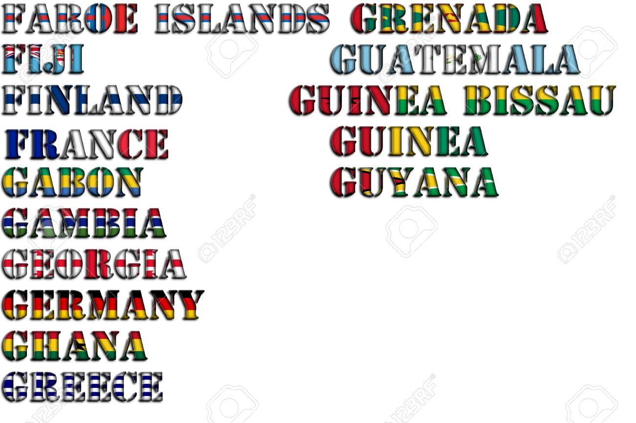 Nombres De Los Países En Colores De Las Banderas Nacionales Kit Completo Parte 5 De 12 Cartas F G Fotos Retratos Imágenes Y Fotografía De Archivo Libres De Derecho Image 63291520