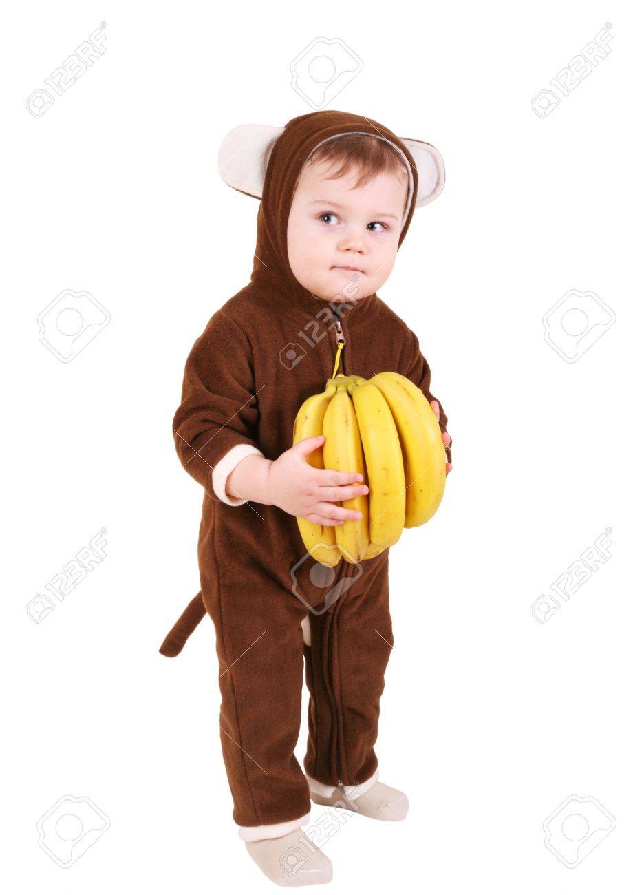 Baby In Monkey Costume With Bananas Stock Photo Picture And Royalty