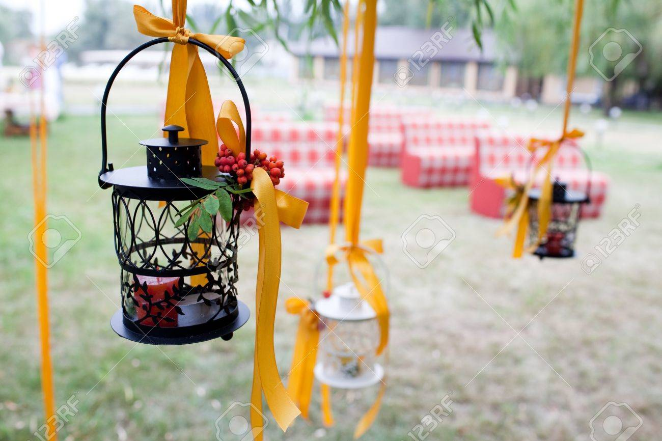 decorated wedding tree and candles - 11678137