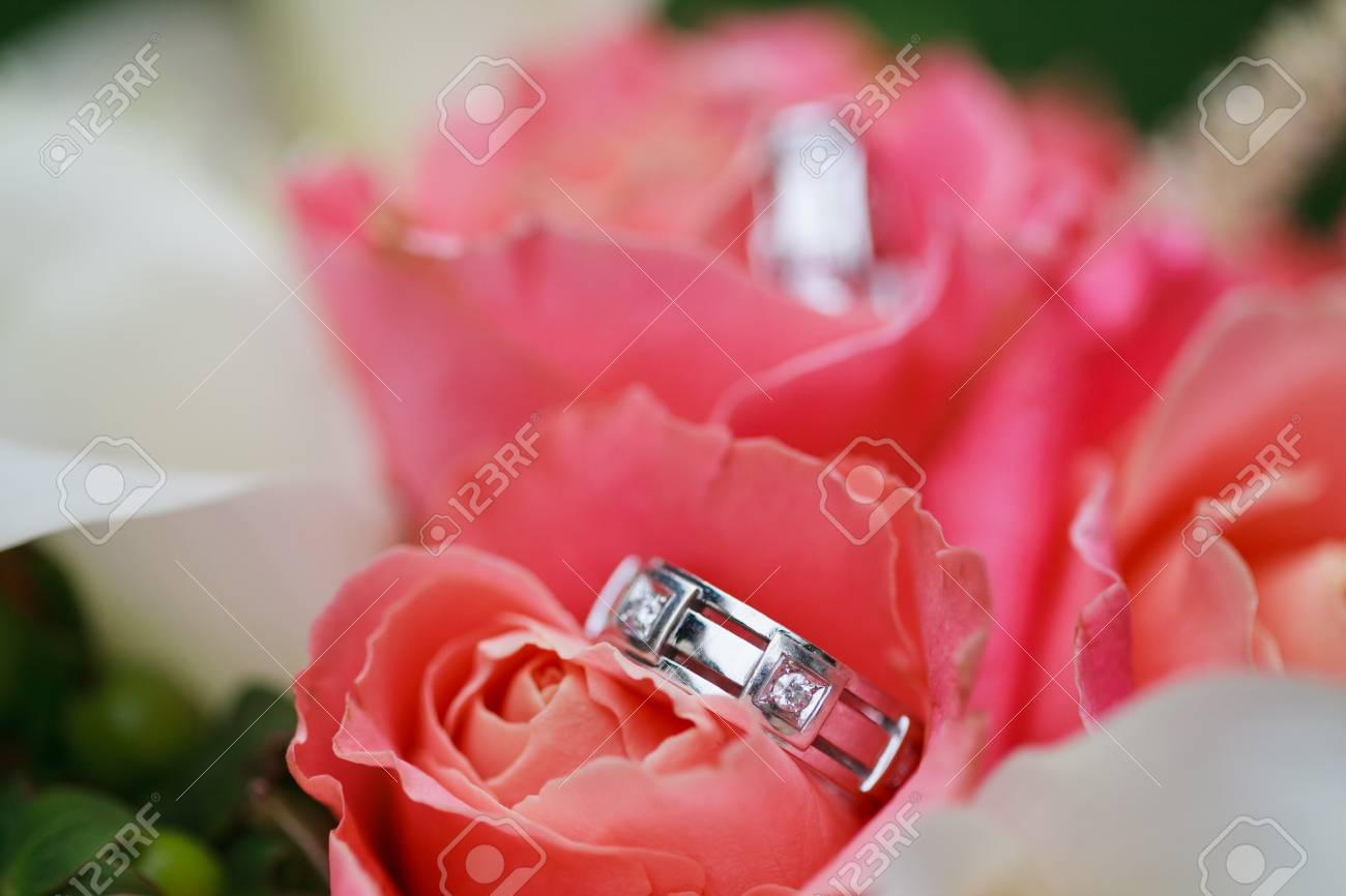 Beautiful Wedding Rings On The Flowers Stock Photo, Picture And ...