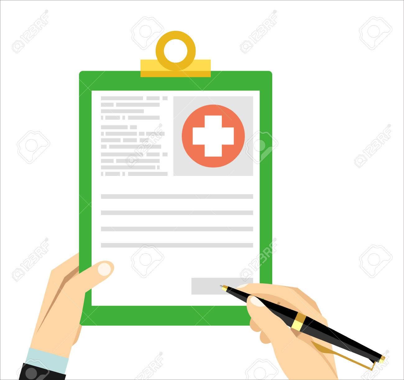Hände Mit Stift Und Medizinische Zwischenablage. Klinische Rekord ...