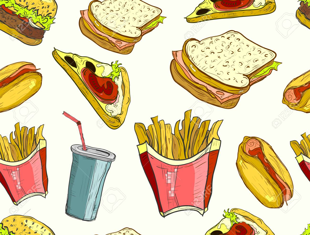 Hand Drawn Fast Food Pattern Junk Food And Soda Drinks Background