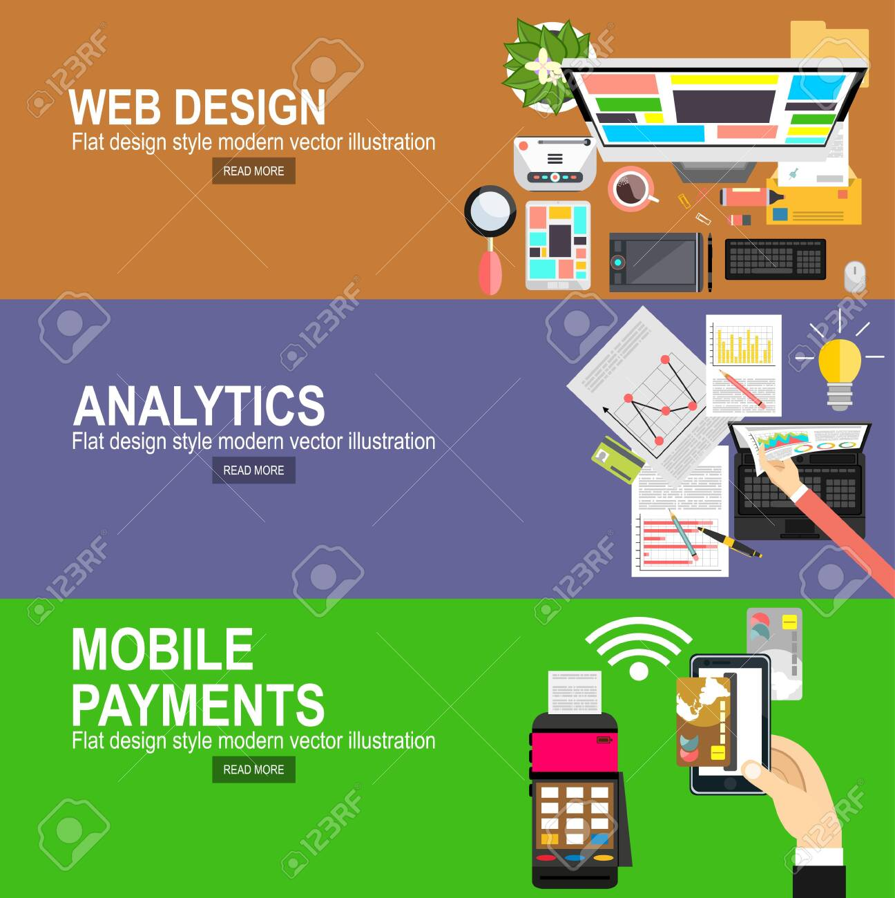 Flat designed banners for graphic design and web design.Mobile payments.Transaction and paypass and NFC. Vector illustration.Analytics Information and Development Website Statistic. - 135611159