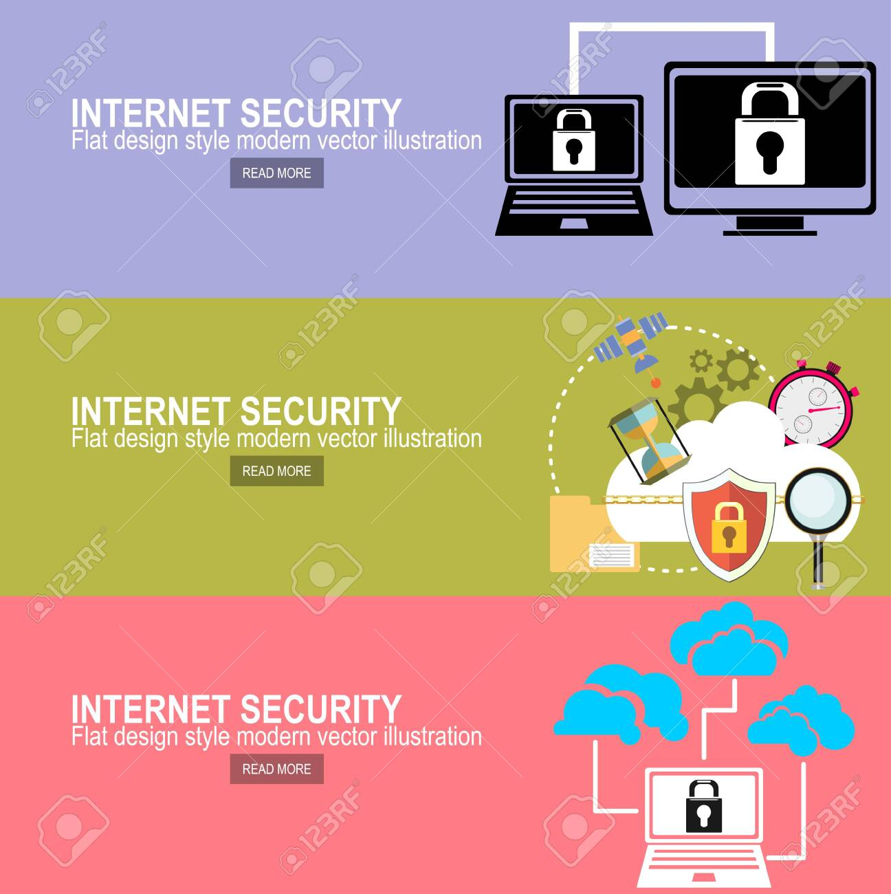 Internet security and data protection concept flat vector illustration - 135611260