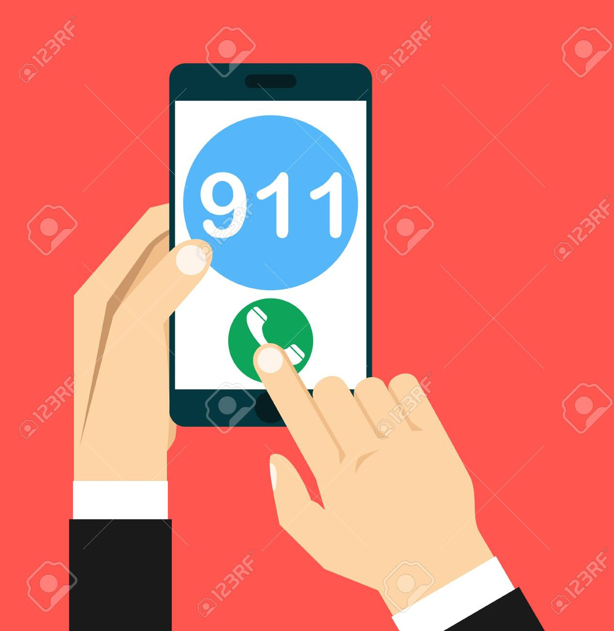 Call 911, emergency call concept. Hand holding smartphone, finger touching call button. Modern flat design vector illustration - 136959223