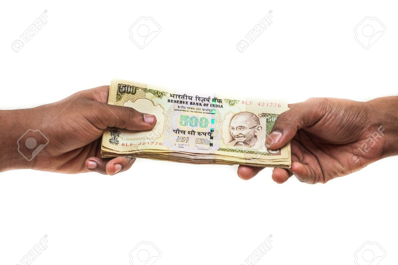 Rupee Note Change Rupee Notes Changing Hands
