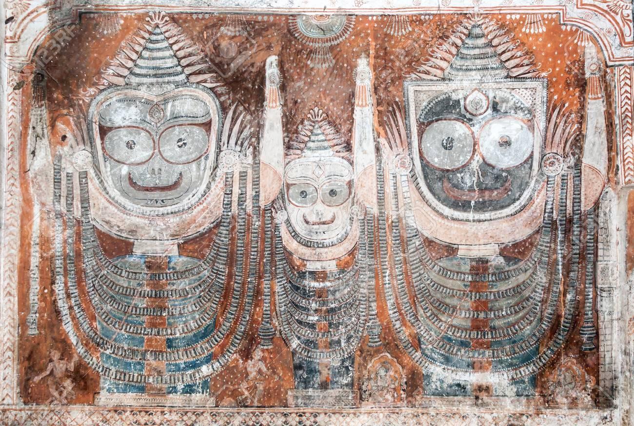 An Ancient Painting Of The Hindu God Jagannatha And His Brother