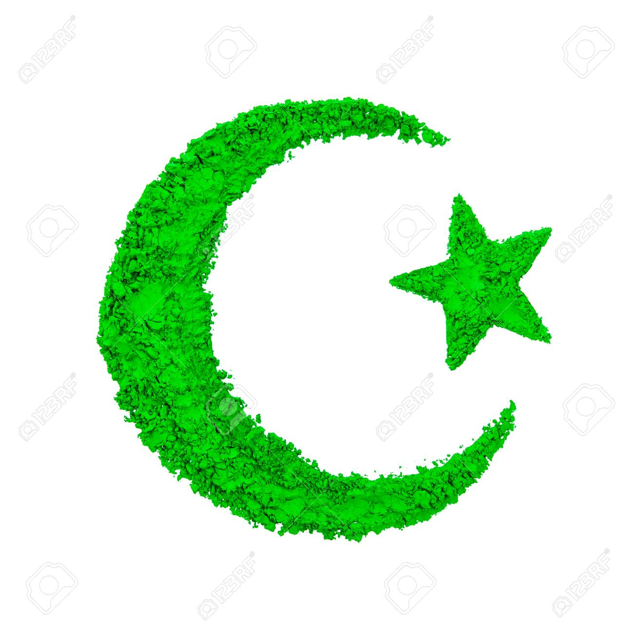 Crescent moon and star of islam made with green color powder crescent moon and star of islam made with green color powder isolated on a white biocorpaavc Gallery