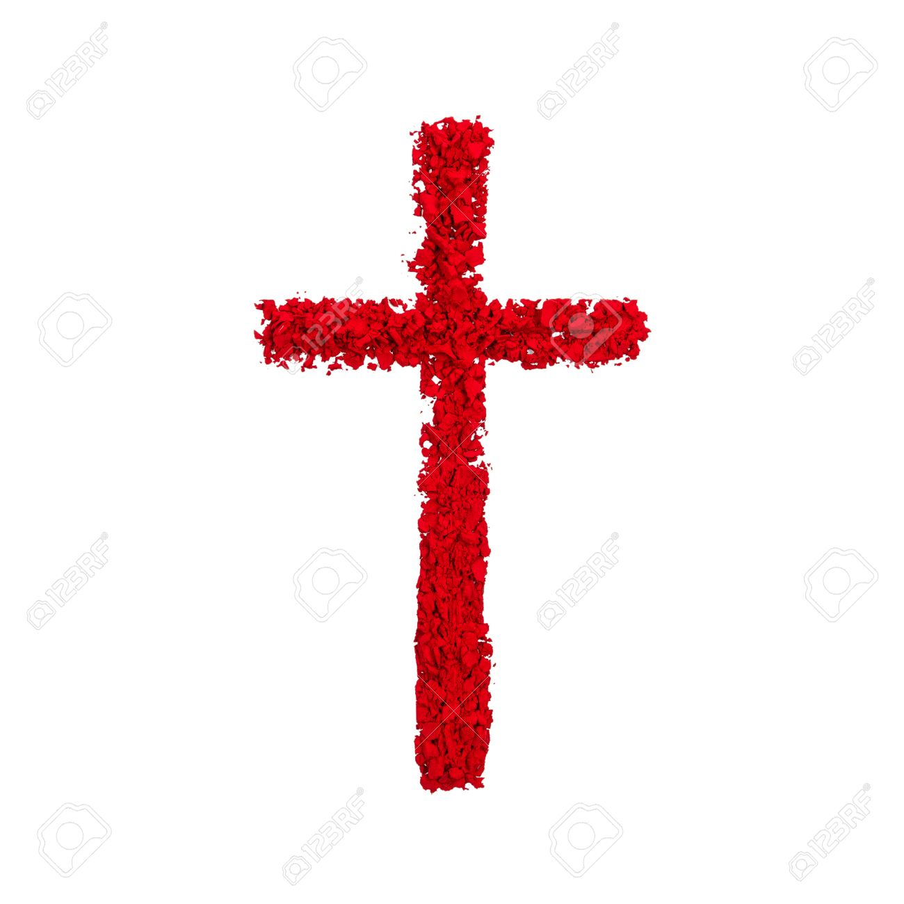 Christian Cross Made With Red Color Powder, Isolated On A White ...