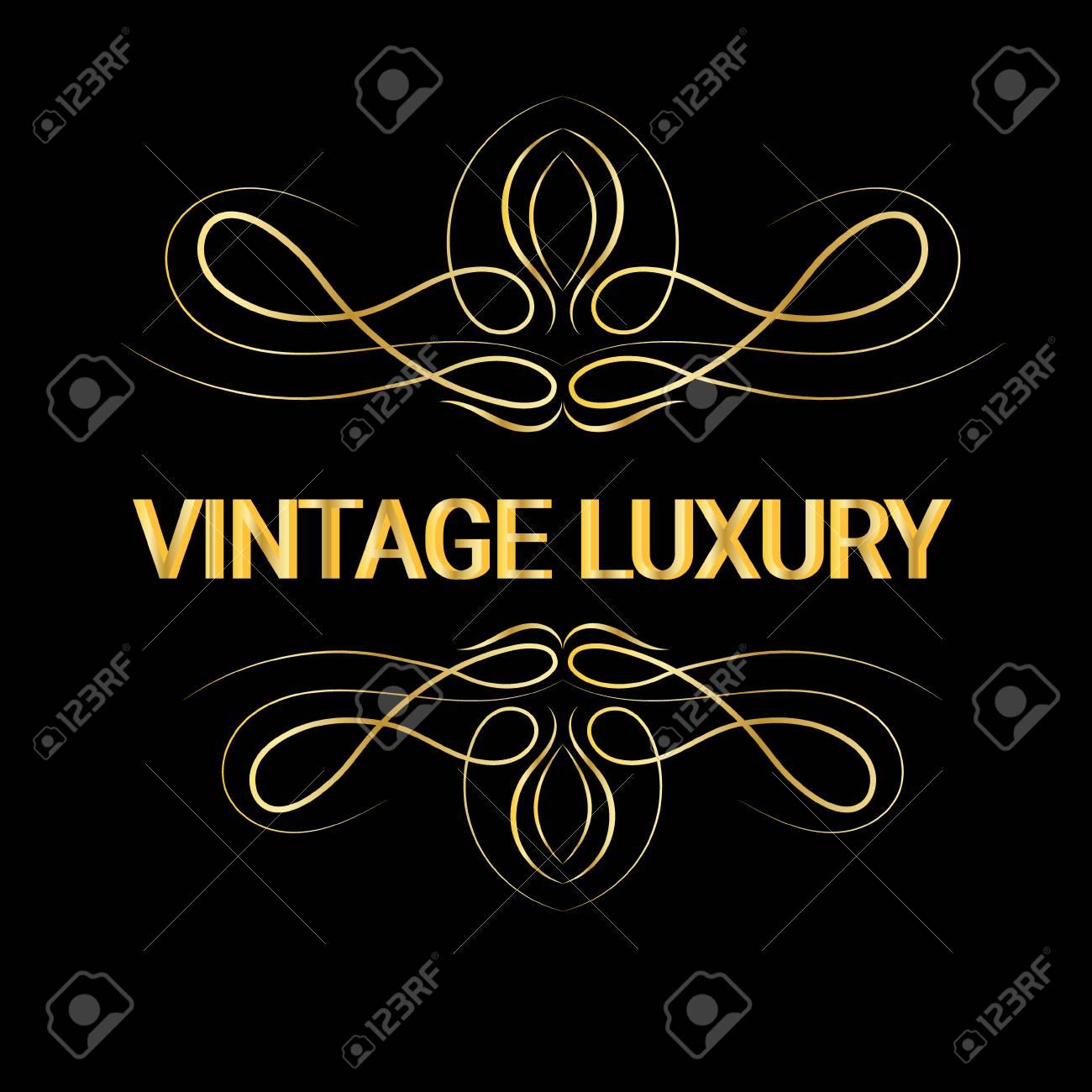 gold decorative frame vintage logo templates vector royalty free