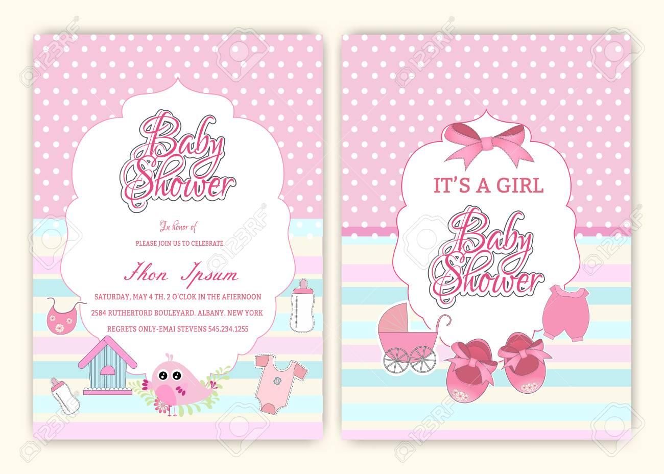 baby shower party invitation design template ロイヤリティフリー