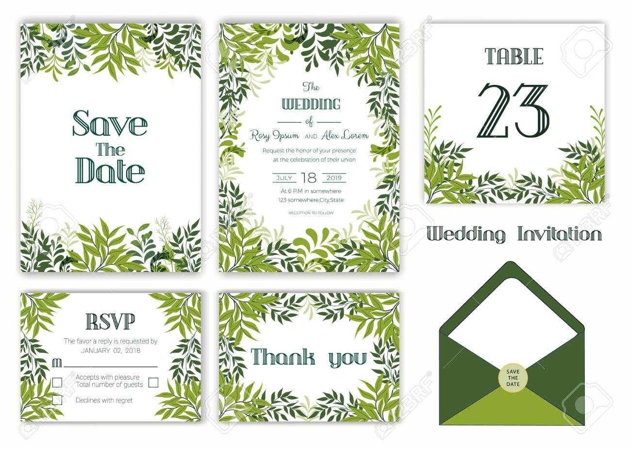 Wedding Invitation Save The Date Rsvp Card Thank You Card
