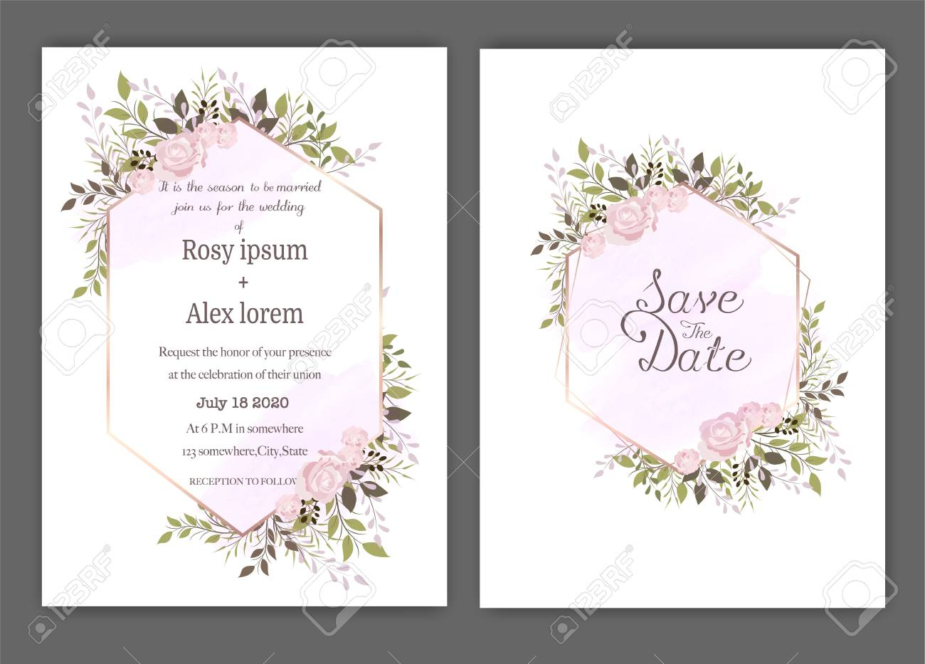 Wedding invite, invitation, save the date card design with elegant lavender garden anemone. - 125667175